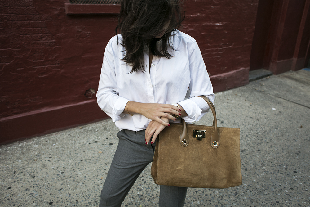 sania claus demina outfit new york fashion week gant trousers christian louboutin pigalle 120 mm pumps jimmy choo bag rodebjer white shirt 8