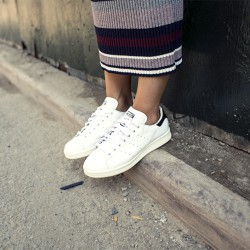 my knit dress & fresh white sneakers