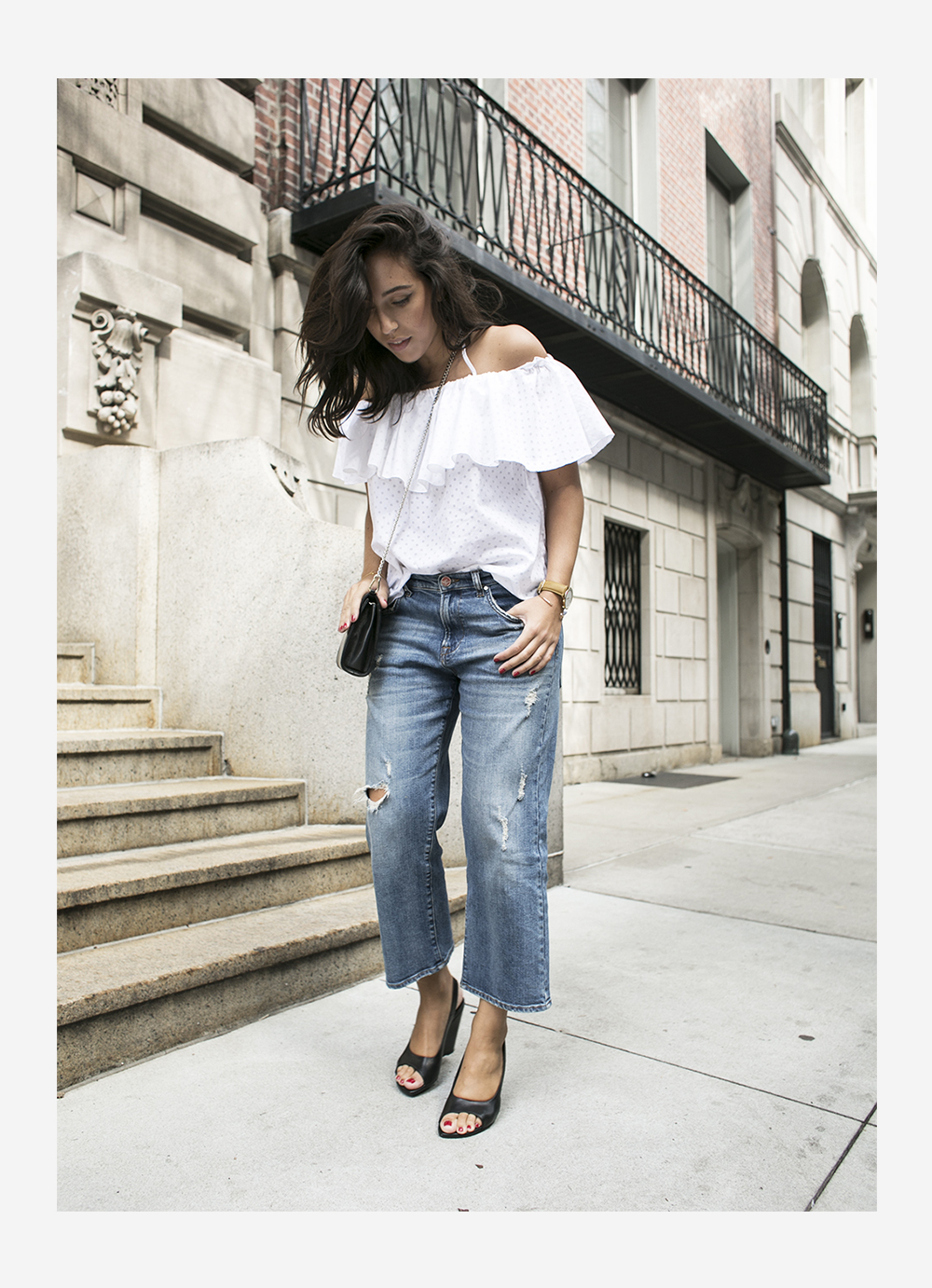 outfit new york fashion week sania claus demina vika & other stories off shoulder top bikbok shorty jeans boyfriend culotte hope shoes mumbaistockholm_1b