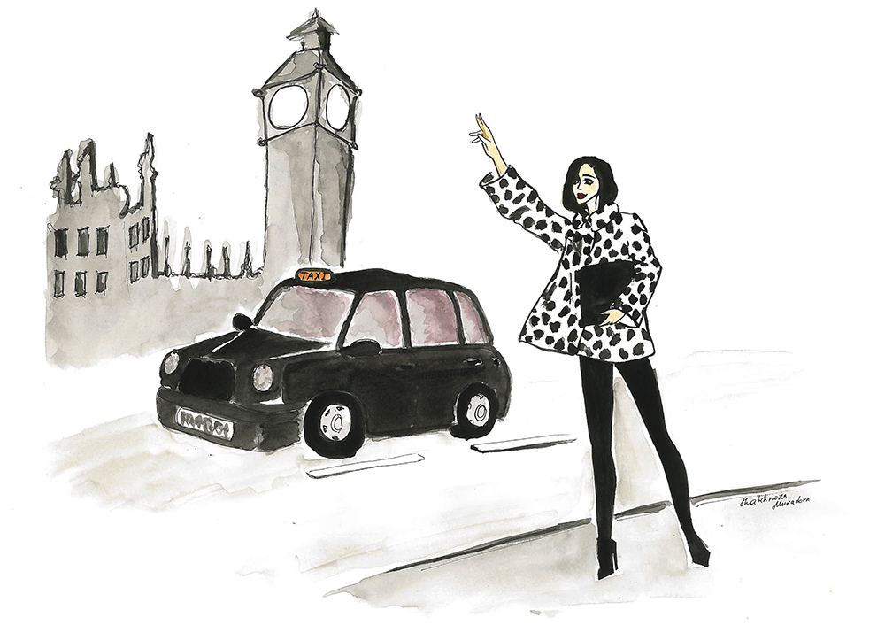 sania claus demina illustration london acne jacket gina tricot jeans louboutin shoes cab