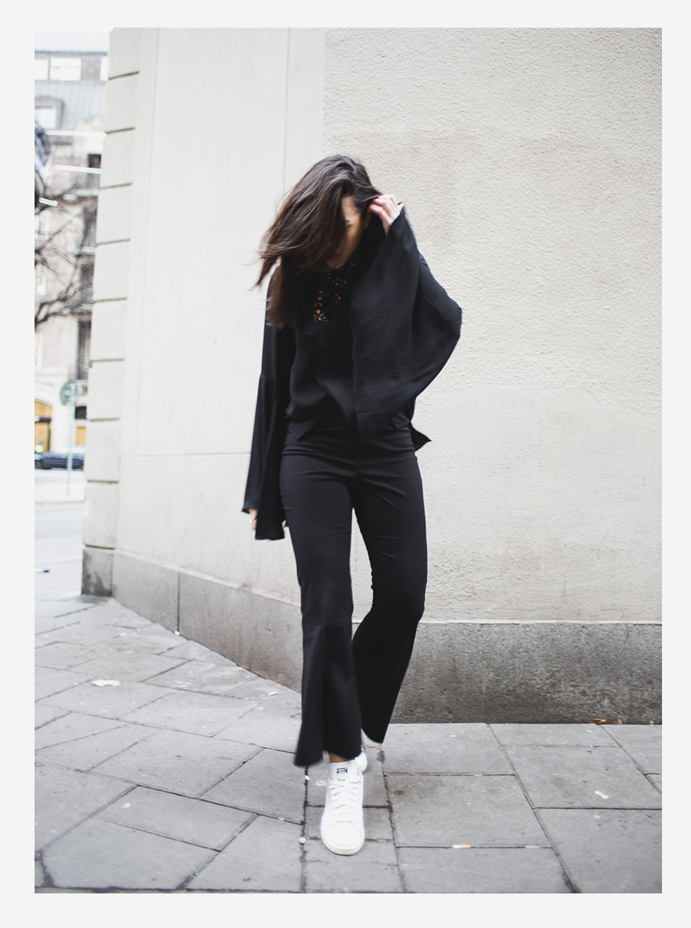 sania claus demina outfit weekday party flare pants trouser top adidas sneakers_2b