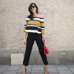 colourful stripes and red details