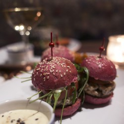 pink salmon mini burgers in barcelona