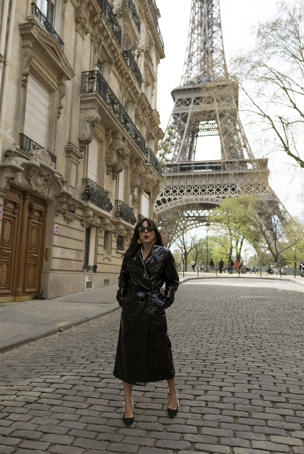 sania claus demina paris april 2018 patent trench coat by malene birger dior canvas slingback shoes carrera sunglasses dior addict lips rue universite_1